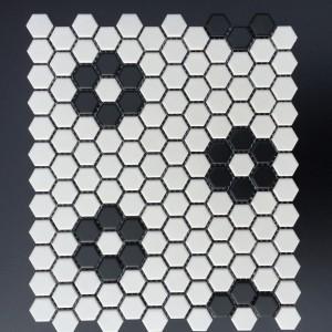 """1"""" HEX WHITE W/ FLOWER PATTERN CZM032Y"""