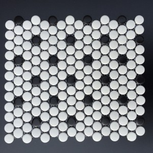 3/4 INCH PENNY ROUND  WHITE W: BLACK DOTS MATTE (CZM034D)